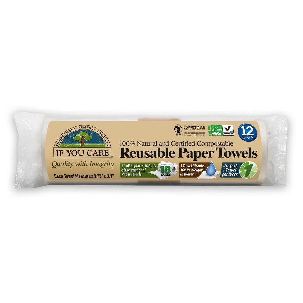 "Reusable Paper Towels (Compostable Packaging!) each towel measures 9.75"" x 9.5"""