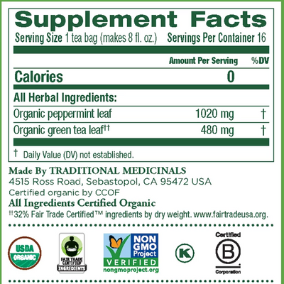 supplement facts of Organic Green Tea Peppermint by Traditional Medicinals®