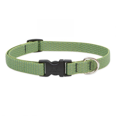 moss dog collar with black plastic tightener, clasp, and silver d ring