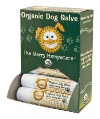 "green package of organic dog salve ""the merry Hempsters"" tubes."