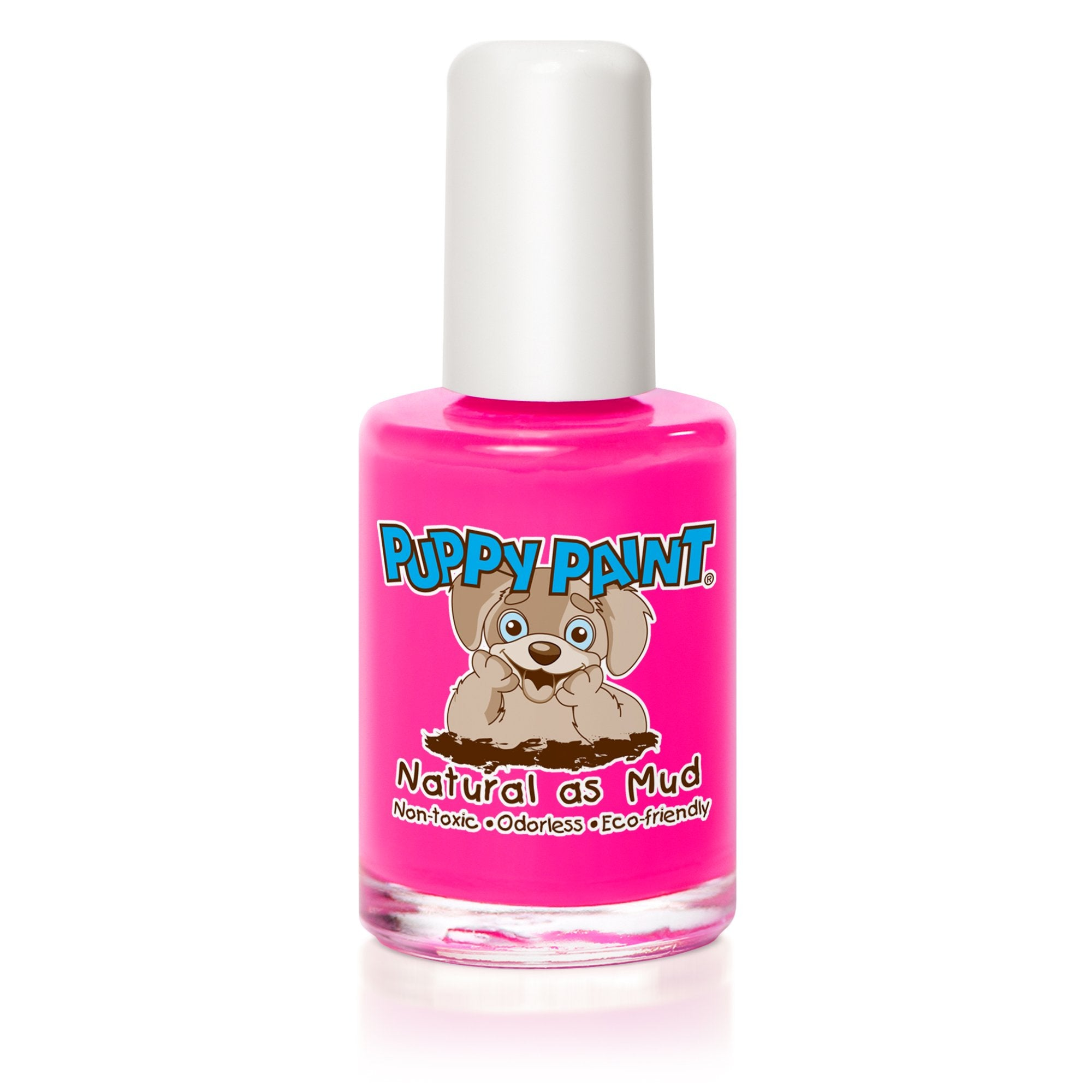 0.5 fl oz pink puppy paint nail polish bottle with white lid