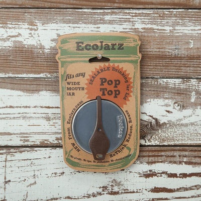 EcoJarz • Reusable drinking jar lid with brown pop top.