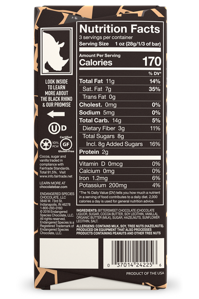 nutritional facts of 3oz endangered species dark chocolate bar with toffee hazelnut