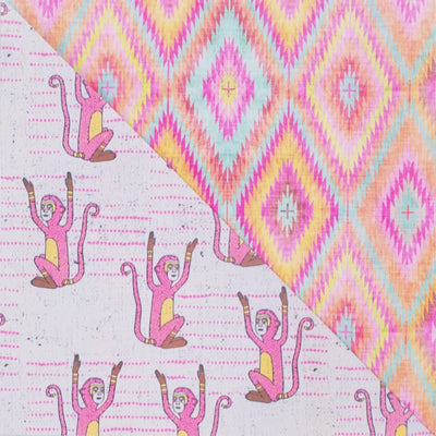 wrappily pink monkey design, reversible