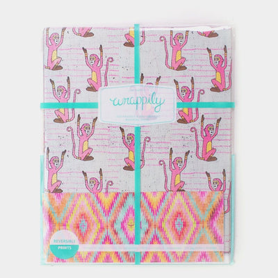 wrappily wrapping paper pack with pink monkey design and teal ribbon