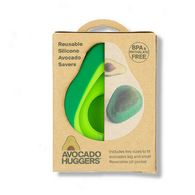 reusable green silicone avocado savers in brown packaging