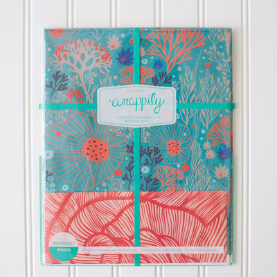 wrappily underwater floral wrapping paper pack with teal ribbon. reversible