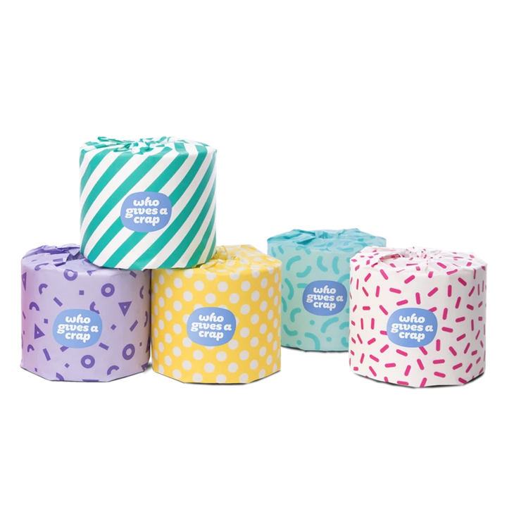 "5, 3 ply ""who gives a crap"" toilet paper rolls, each with a multicolored/multi patterned package design"