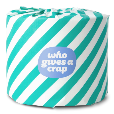 3-PLY JUMBO ROLL, teal and white striped package design
