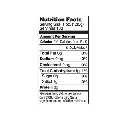 nutrition facts for all natural gum