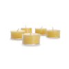 Set of 5 glass tea lights.  naturally colored and aromatic, infused with the sweet, subtle scent of honey.
