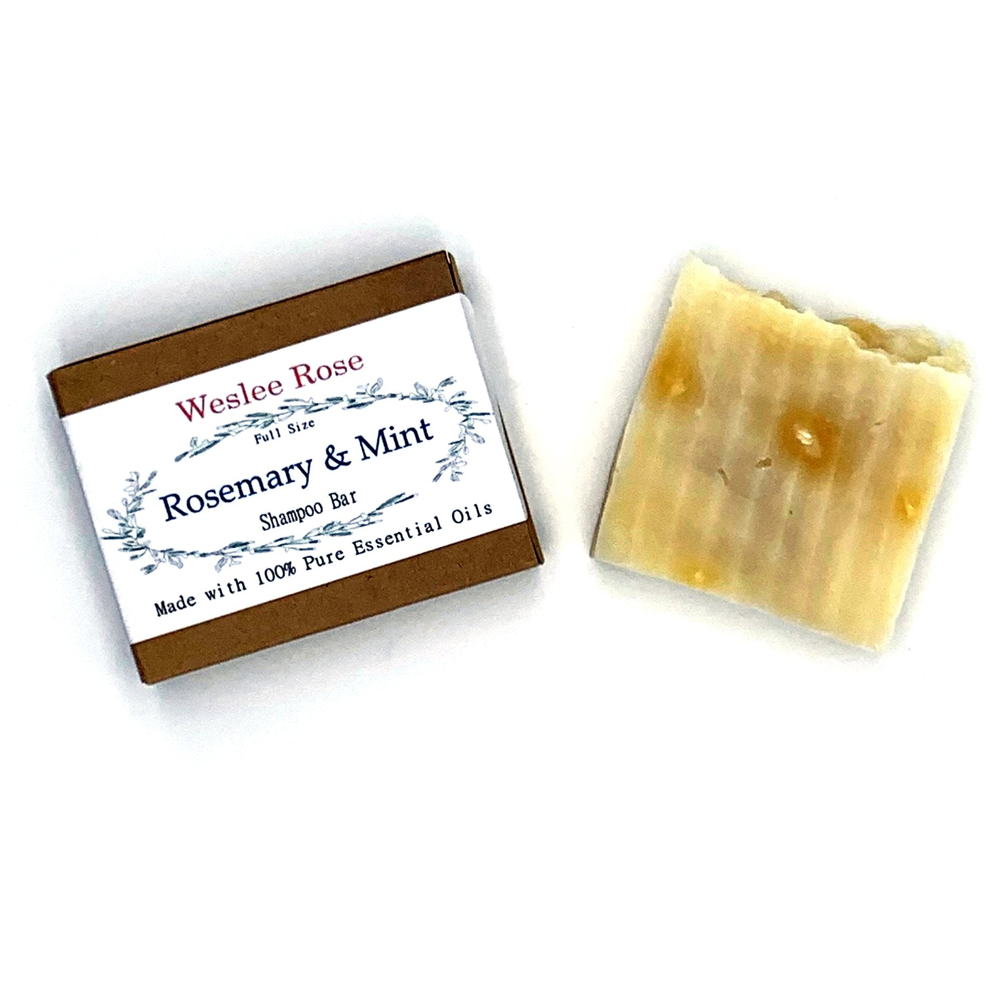 Zero waste, Vegan, No added Fragrances, 100% Pure Essential Oils, Biodegradable, Lake and Stream Friendly, Non Toxic Shampoo Bar. Rosemary Mint.