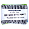 Reusable eco sponges, Mildew Resistant, Washable, Hypoallergenic, and made in the USA. Grey/Lime.