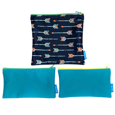 3 reusable sandwich bags and snack bags. 1 plain blue with green zipper, 1 plain blue with yellow zipper, 1 blue with arrow design and green zipper,