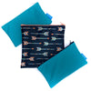 3 reusable sandwich bags and snack bags. 1 plain blue with black zipper, 1 plain blue with white zipper, 1 blue with arrow design and orange zipper,