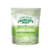 green floral packaging with resealable tab. All natural, eco friendly concentrated laundry powder. 100 loads by Charlies Soap.