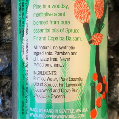 close up of ingredients for Pine mist