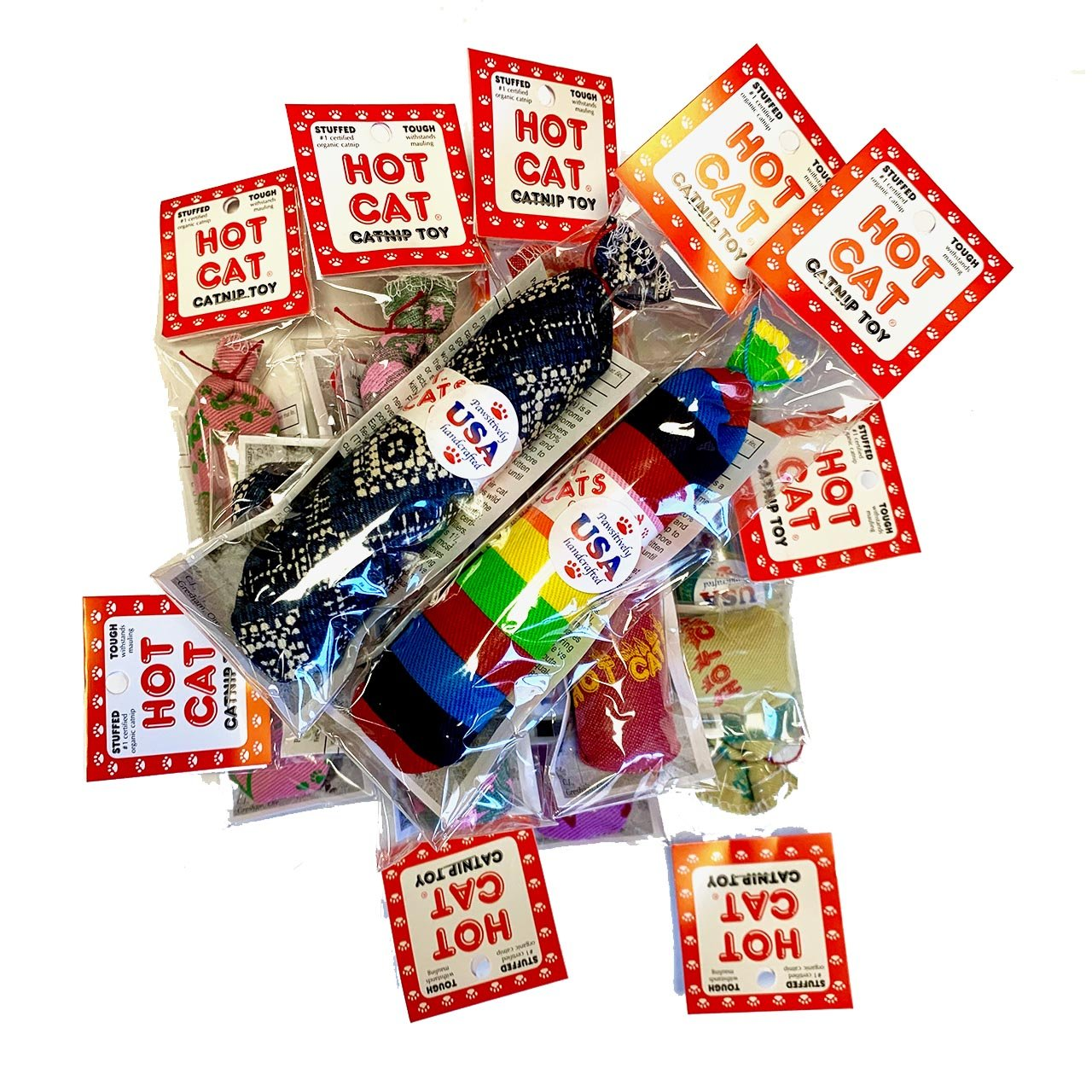 Colorful Sausage shaped toys filled with catnip, packaged in clear cellophane with cardboard tag.