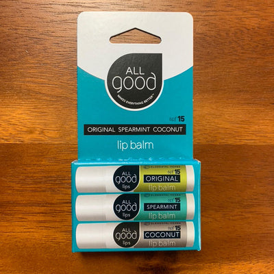 Package of three All Good lip balms, original, spearmint and coconut