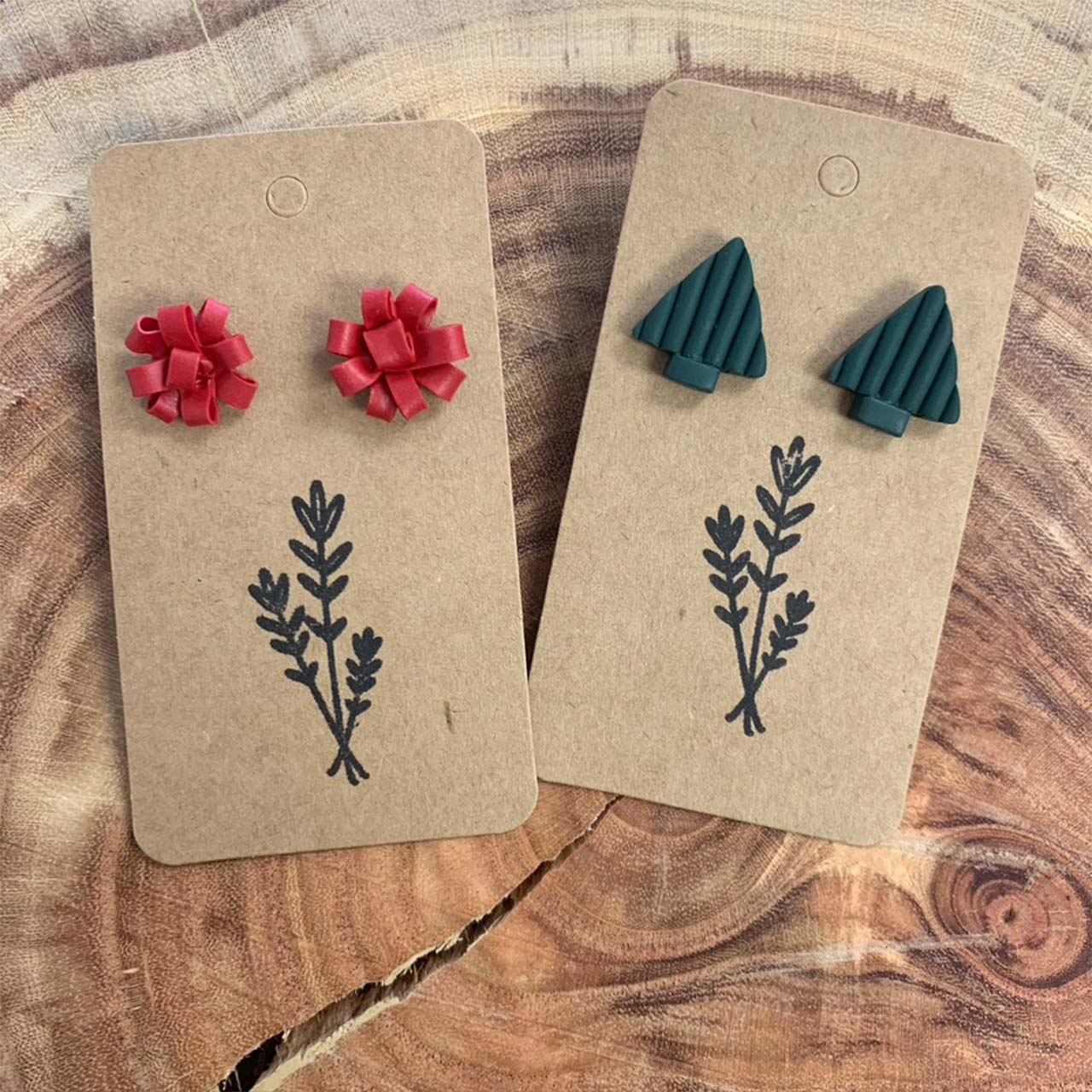 Red Ribbon & Tree Earrings — Studs