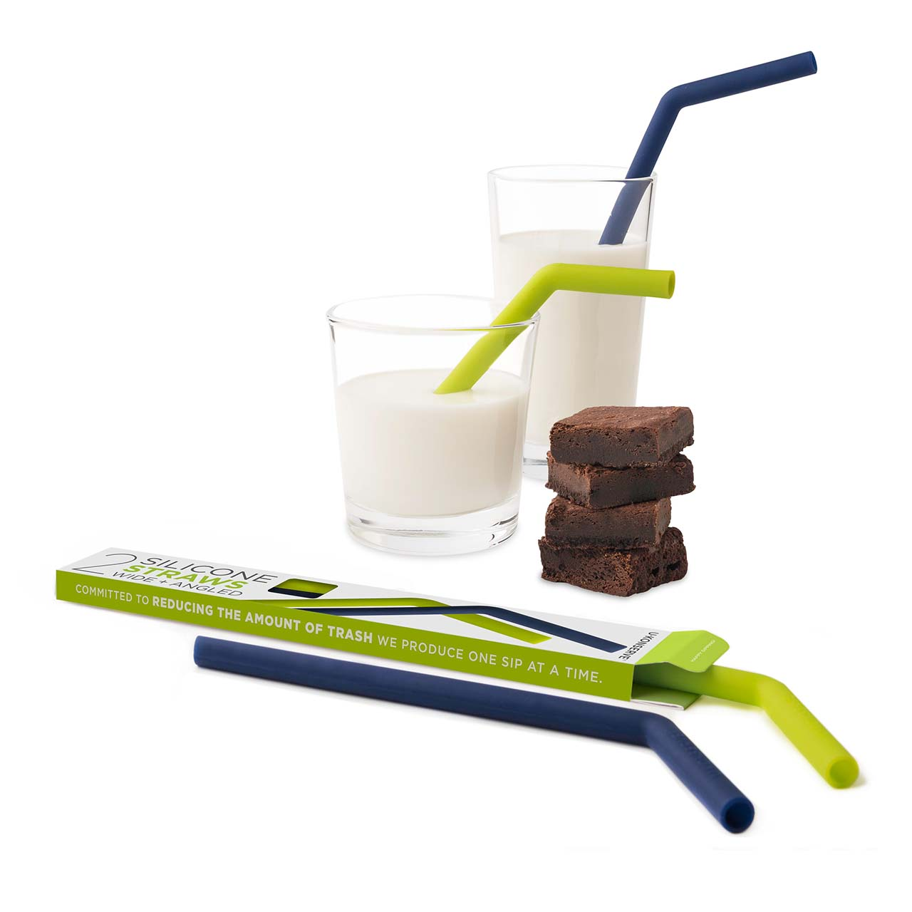 Wide + Angled Silicone Straws (Set of 2)