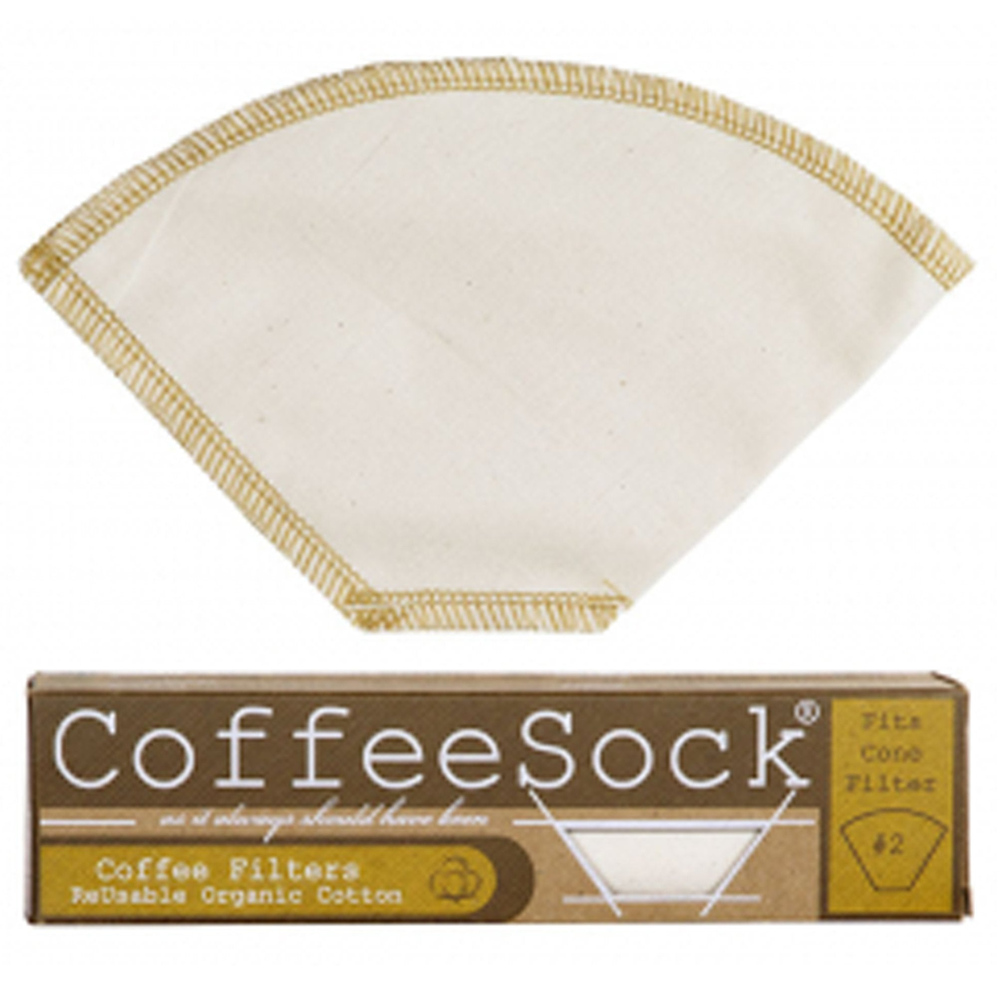 Reusable, organic cotton coffee filters made in the USA. #2 filter size. creme colored with brown threading