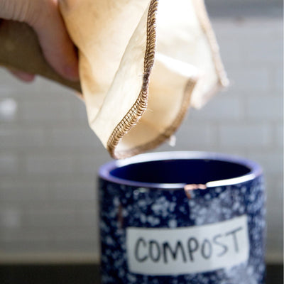 Reusable, organic cotton coffee filters made in the USA. #2 filter size pouring old coffee grounds into blue ceramic labeled compost