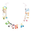 "multicolored collage style ""once upon a time"" garland, hanging on white wall"