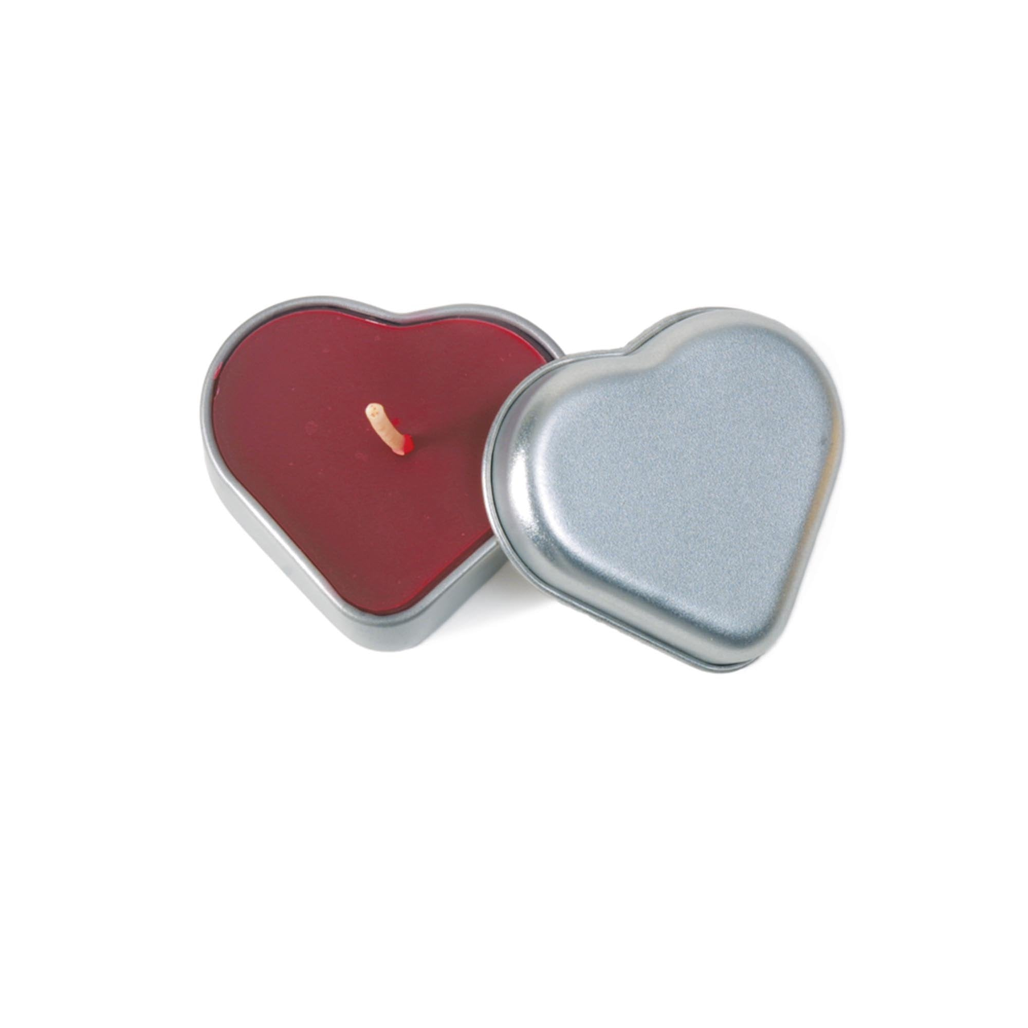 100% Pure Beeswax Heart Candle Tin, heart shaped candle with lid off exposing ruby red wax, and white cotton wick