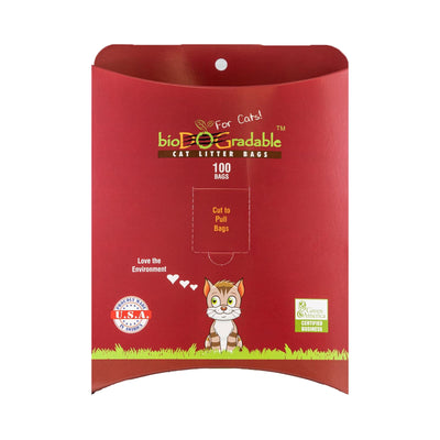 "Red Cat waste bag container with ""proudly made in the USA"" and Green America Seal displayed on front"