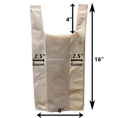 dimensions of white cat waste bags. dimensions include 8 inch width, 16 inch length, 4 inch handles, and 2.5 inch gussets