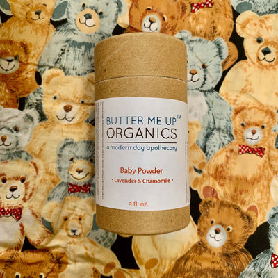 cardboard baby powder container, 4 fluid ounces, displayed on illustration of assorted teddy bears