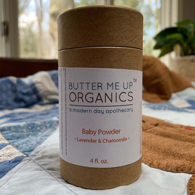 4 fl oz cardboard baby powder container, lavender & chamomile