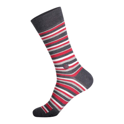 grey sock with red white and grey stripes