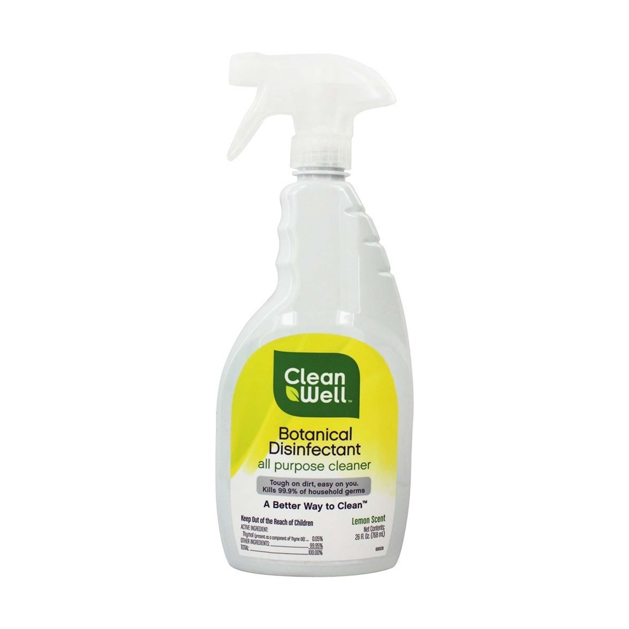 EPA approved this Covid-19 botanical disinfectant that kills 99.9% of germs. This is an all purpose cleaner and disinfectant which is tough on dirt, but no you. 26 fl. oz and lemon scented.