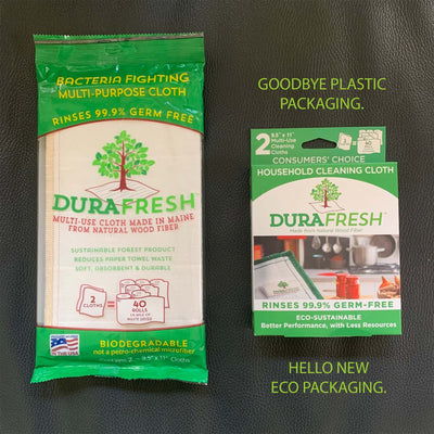 Reusable, multi-Use, Natural Wood Fiber Cloth made in the USA. 2-pack with new eco packaging which replaces the old plastic packaging