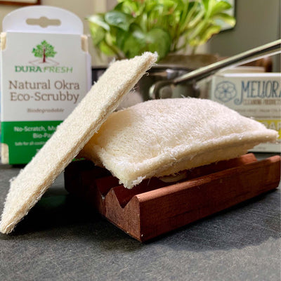 100 okra vegetable fiber, this biodegradable scrubbie comes in a 2 pack