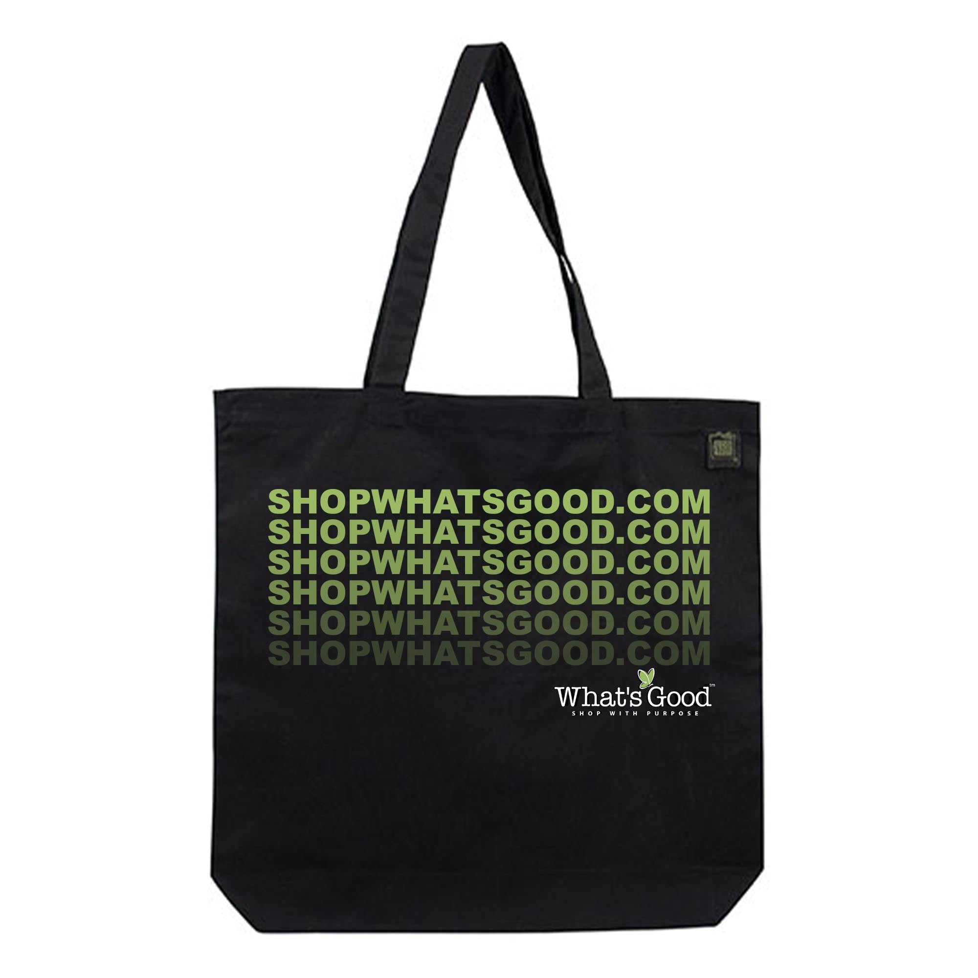 black reusable shop whats good eco bag with fading green text and whats good logo