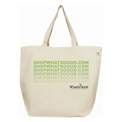 egg shell reusable shop whats good eco bag with fading green text and whats good logo