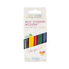 5 pack of multicolored eco friendly crayons. colors include black, yellow, red, green, blue