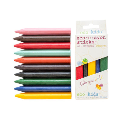 10 pack of multicolored eco friendly crayons. colors include pink, brown, orange, purple, seafoam, black, yellow, red, green, blue