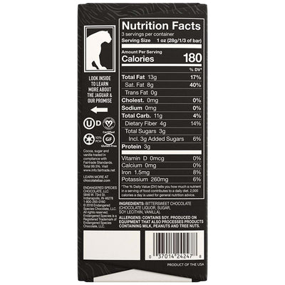 nutritional facts of 3oz endangered species dark chocolate bar