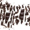 broken up dark chocolate bar, splintered and textured