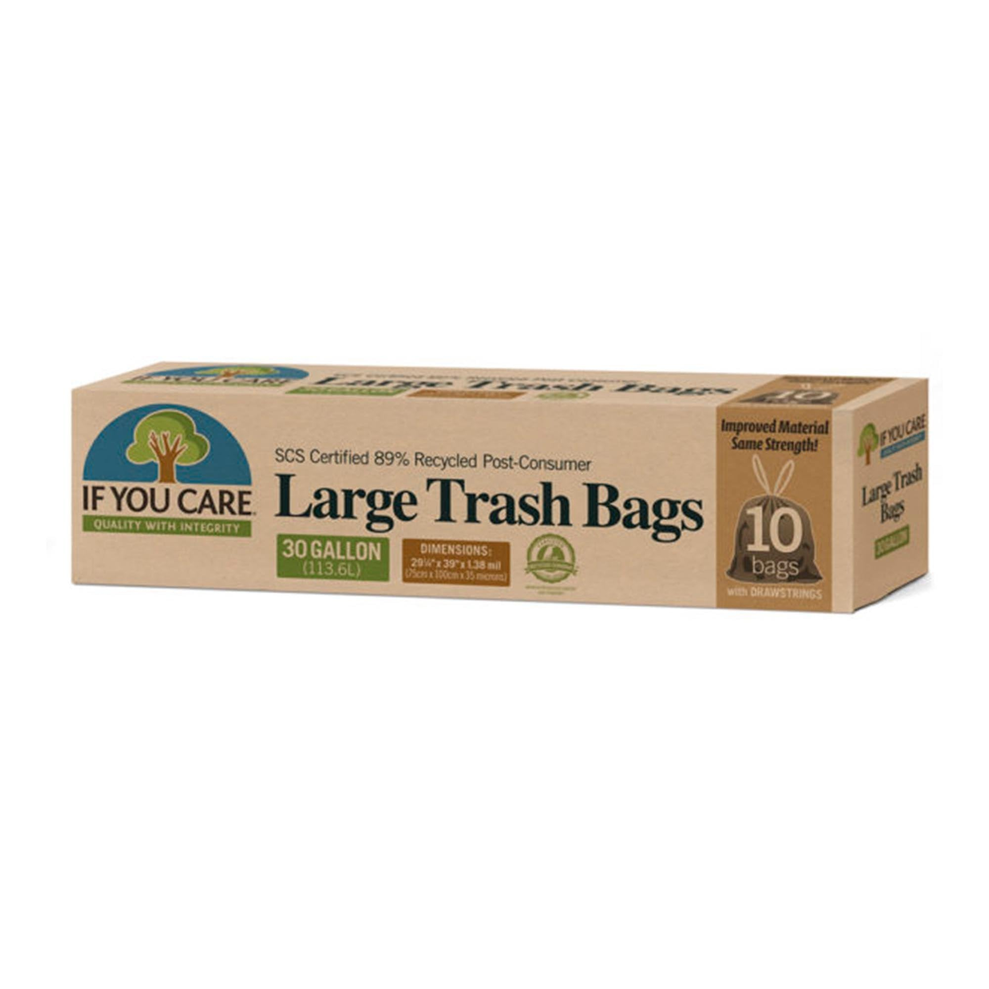 Recycled Trash Bags with Draw String — 13 or 30 Gallon