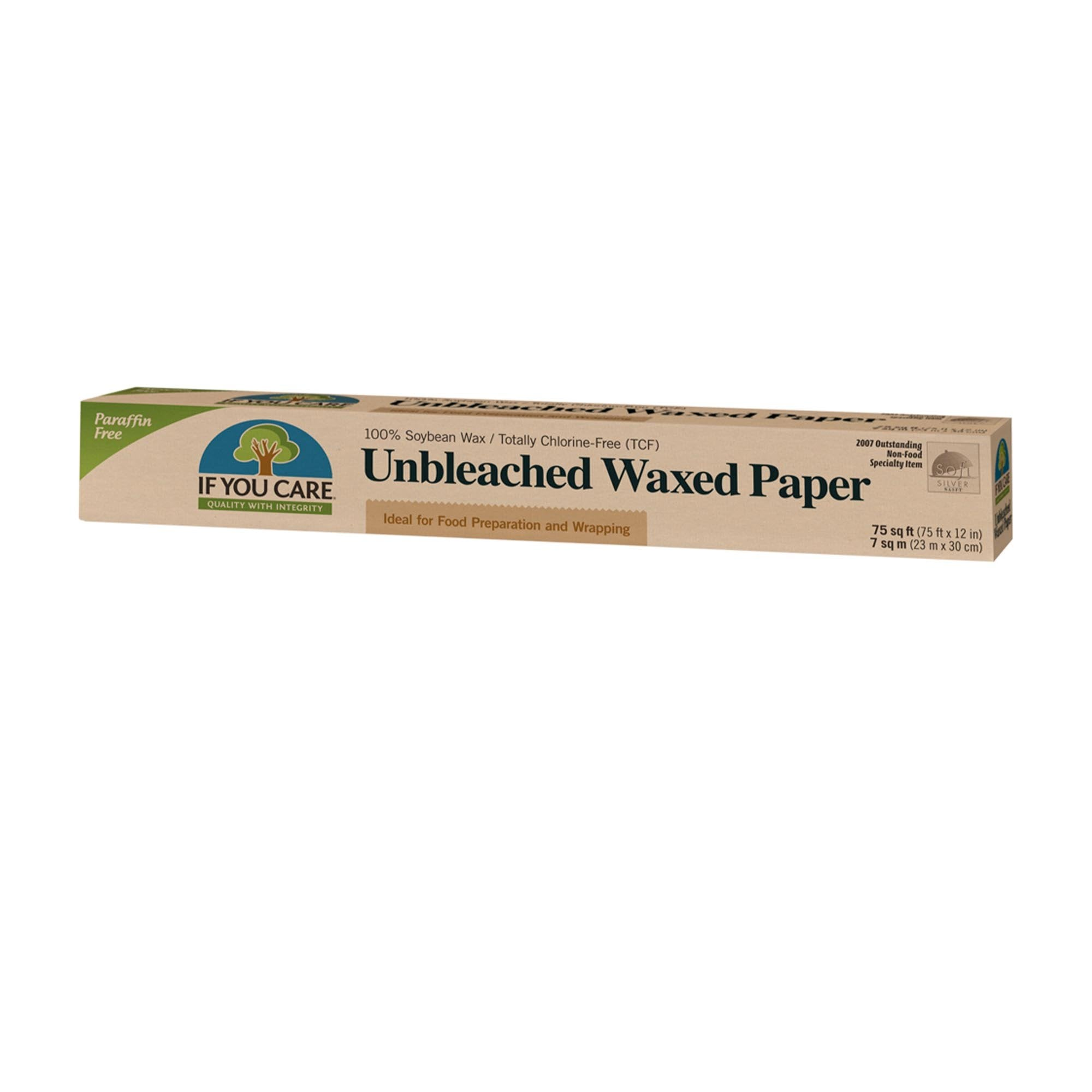 unbleached waxed paper roll in packaging, 75 square feet