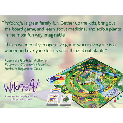 review of wildcraft game by rosemary gladstar, with game board visible next to text
