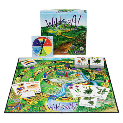 wild craft box on display with game pieces, cards, and game board, illustrated vibrantly with nature themes.