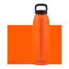 orange aluminum bottle with black lid and handle, 32 oz.