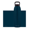 dark blue aluminum bottle with black lid and handle, 32 oz.