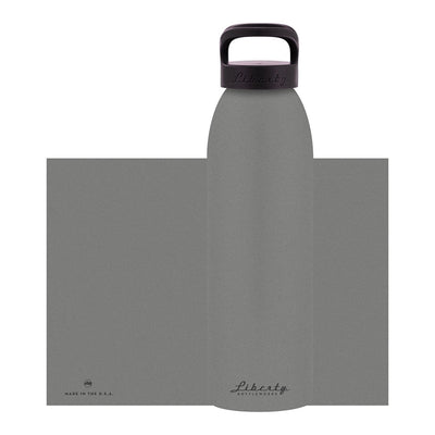 grey aluminum bottle with black lid and handle, 32 oz.